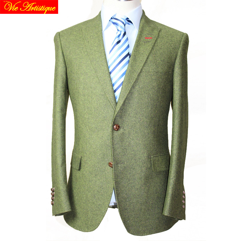 Custom Tailor Made Men's Bespoke Suits Business Formal Wedding Ware Bespoke 2 Piece Jacket Coat Pant Green Tweed Wool Slim Fit