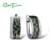 SANTUZZA Silver Earrings For Women Pure 925 Sterling Silver Green Stud Earrings Trendy Gift Party Fine Jewelry Handmade Enamel