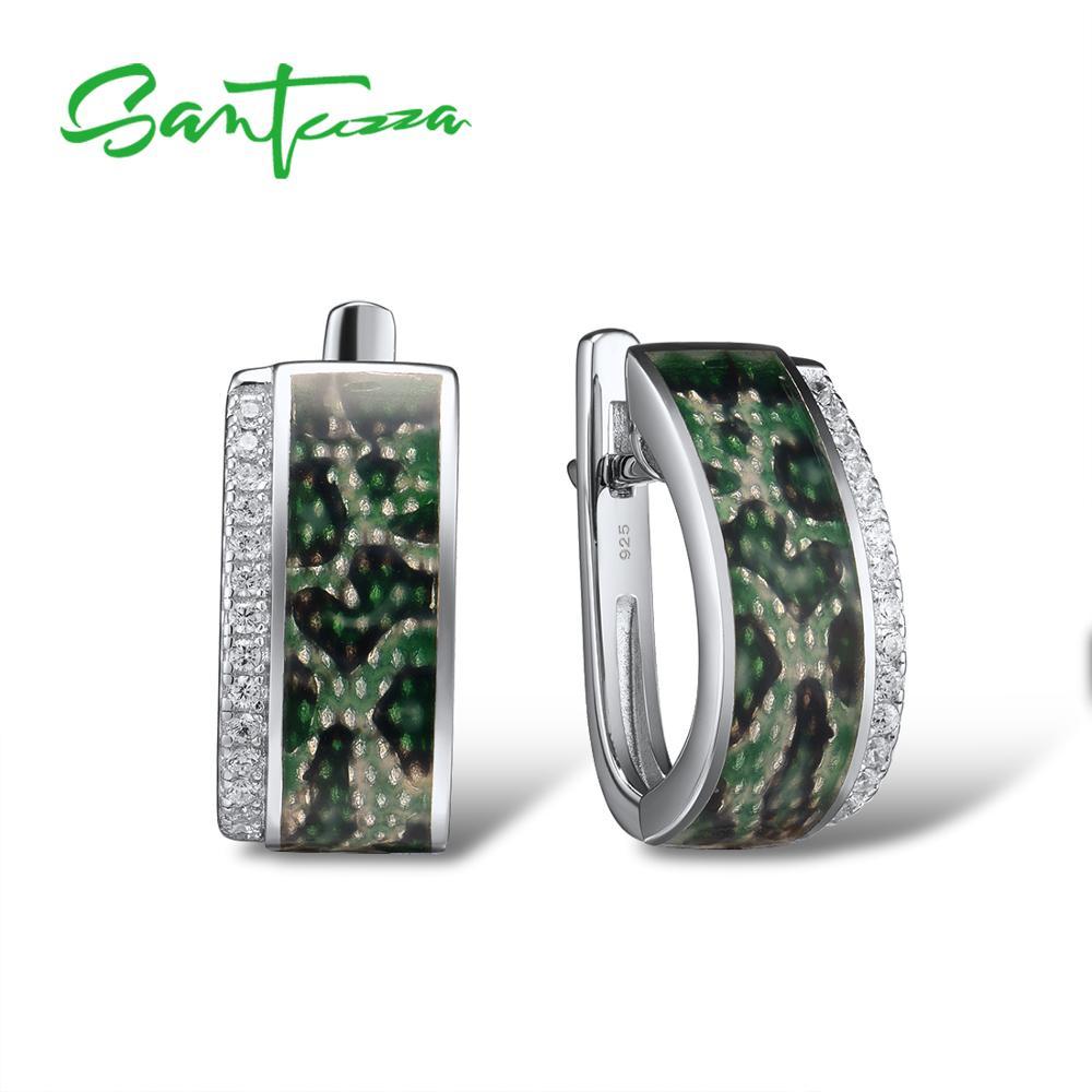 SANTUZZA argent boucles d'oreilles pour les femmes pur 925 en argent Sterling vert boucles d'oreilles à la mode cadeau fête Fine bijoux à la main émail