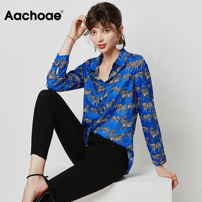 Fashion Animal Zebra Print Women Blouses 2020 Loose Leisure Long Sleeve Blouse Shirt Turn Down Collar Ladies Tunic Tops Blusas