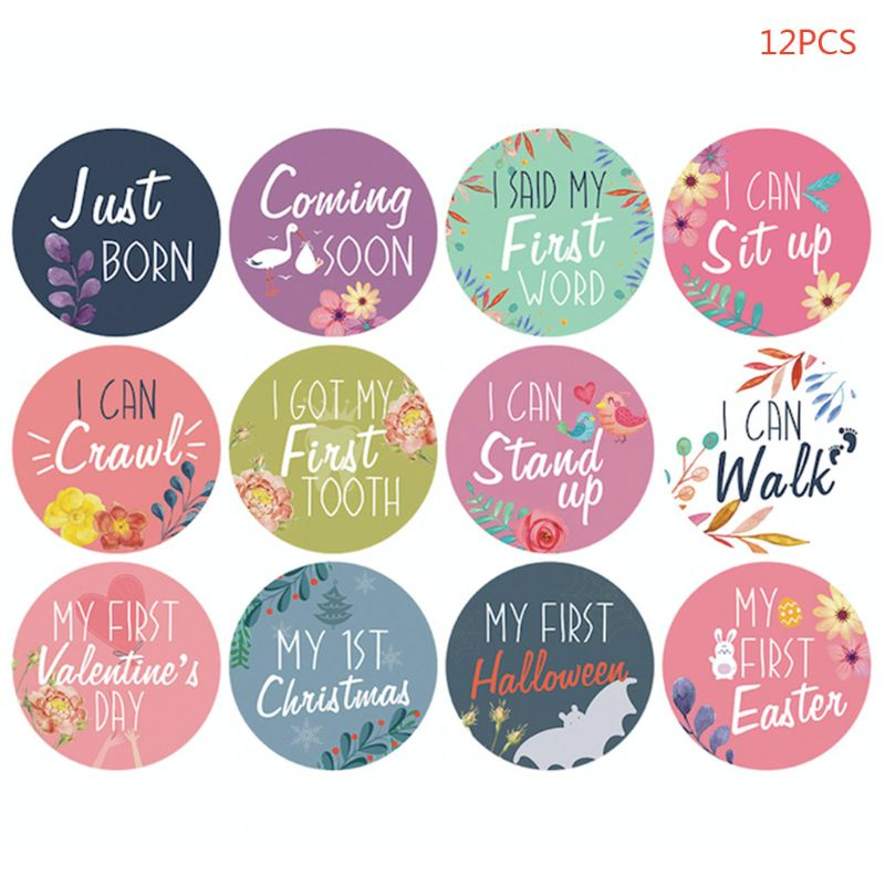12 Pcs/set Newborn Growth Month Sticker Baby Kids Christmas First Tooth Memorial Photo Shooting Card Photography Props
