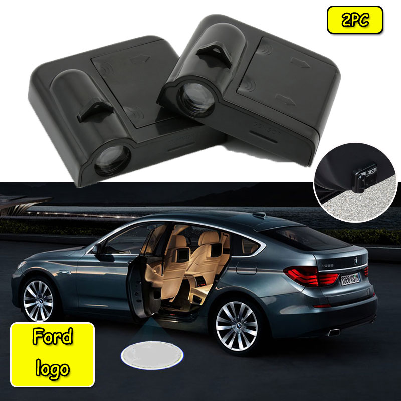 2pcs Car Logo Welcome Door Light Paste Battery  Projector Light For Ford-Focus 2 3 Fiesta MK2 MK3  MK4 Fusion Ranger