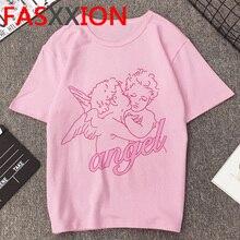 Nueva camiseta Vintage Vogue Angel para mujer, camiseta de verano, camisetas gráficas Kawaii, camisetas de talla grande Grunge Unisex, camiseta de gran tamaño para mujer