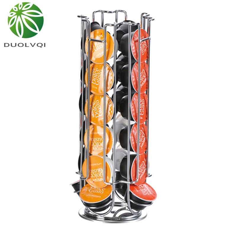 Duolvqi Metal Coffee Pods Holder Tower Chrome Plating Stand Coffee Capsule Storage Rack For 24pcs Dolce Gusto Capsule