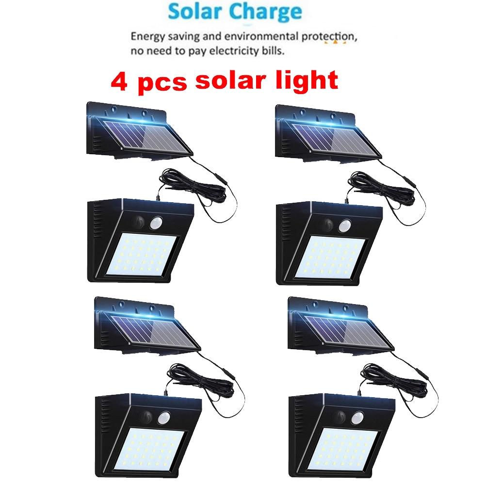 2/4pcs 100/56/30LED Solar Power Street Light PIR Motion Sensor Wireless Wall Lamp Garden Security Lamps Outdoor Waterproof Lumin