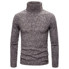 цена на Autumn Winter Mens Sweaters Solid Color Turtle Neck Tops Long Sleeved Pullover Knitted Sweatshirt Men's Clothing