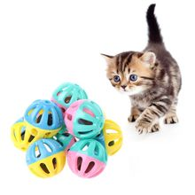 10 Pcs Cat Toy Hamster Chinchillas Cats Dog Plastic Round Hollow Double Color Bell Toys Ball