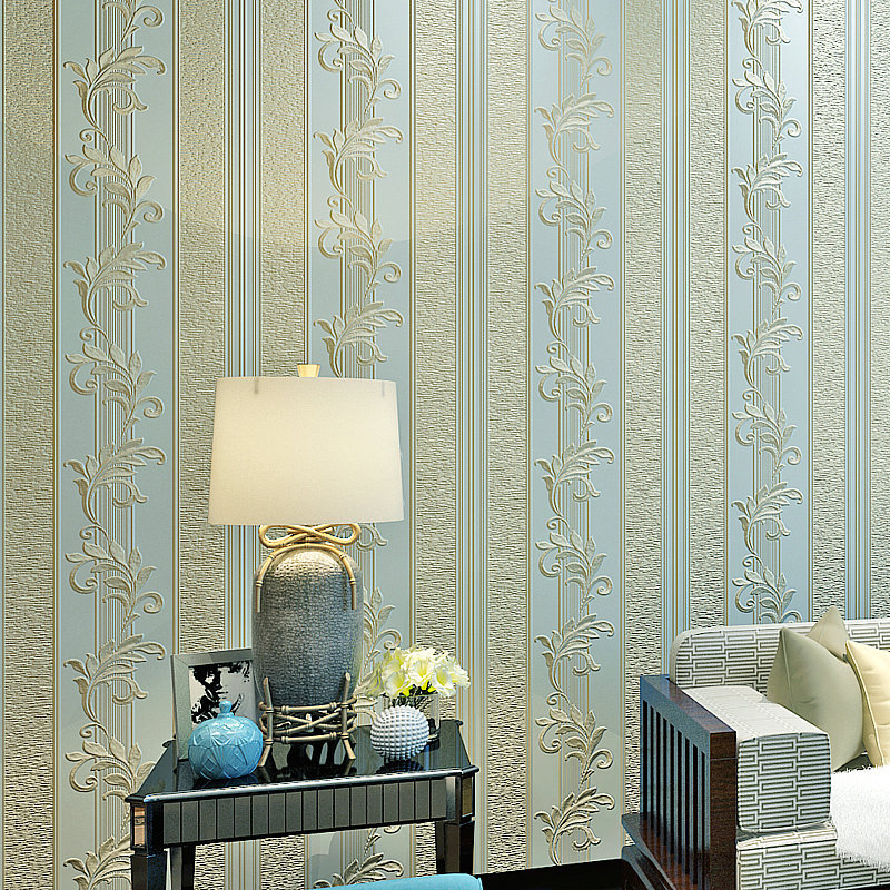 Luxury European Style 3D Stripes Wallpaper Bedroom Living Room Television Background Wall Environmentally Friendly Nonwoven Fabr