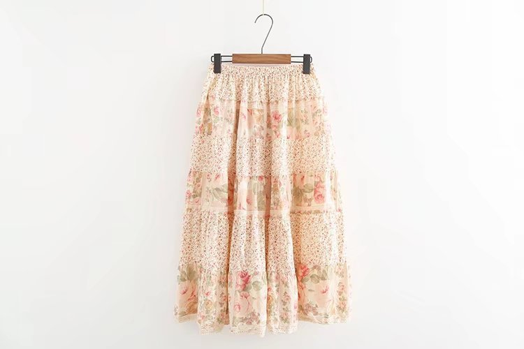 Fashion Nice Summer Women Vintage Pink Floral Print Midi Skirt A-Line Sweet Girl Cotton Lace Patchwork Bohemian Skirt