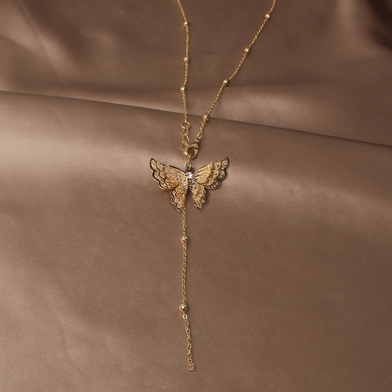 Japan and South Korea new design fashion jewelry exaggerated butterfly metal pendant elegant female clavicle necklace