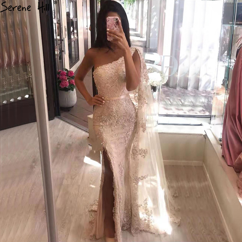 Champagne One Shoulder Mermaid Sexy Evening Dressese Sleeveless Lace Pearls Evening Gowns 2019 Serene Hill LA70181