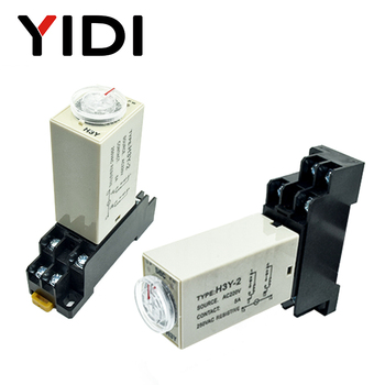 цена на H3Y-2 Timer Relay DC12V AC 220V 0-30 Sec 0-30 Minute 0-60s 0-60min Delay Timer 220VAC Time Relay with Base Socket