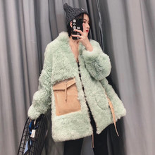 Real sheep fur coat women winter natural fur jacket plus size 2019 thick warm genuine leather jacket double-faced sheepskin coat(China)
