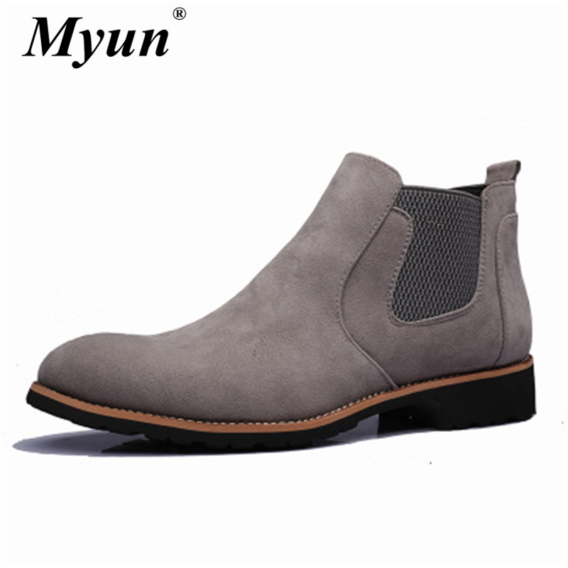 British Style Men Cowhide Chelsea Boots Ankle Boots Classic Male Brand Genuine Leather High Quality Slip Ons Motorcycle Boots