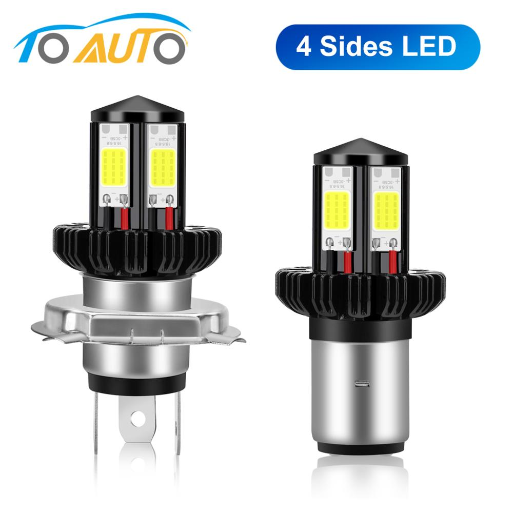 4 Sides H4 BA20D LED Motorcycle Headlight Bulbs  For DRL Fog Lights Moto Headlamp Without Wires Scooter Lamp 12V
