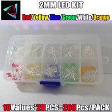 Набор светодиодов 200 шт./лот, 2 мм, основной цвет, прозрачный, красный, синий, зеленый, желтый, оранжевый, белый, «сделай сам», 3 мм, набор диодов, ...