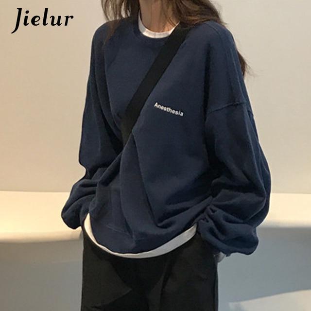 Jielur 2021 New Kpop Letter Hoody Fashion Korean Thin Chic Women's Sweatshirts Cool Navy Blue Gray Hoodies for Women M-XXL 3
