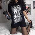 Harajuku Casual Gothic Clothes Vintage Black Tops Woman Graphic T-Shirts Summer Streetwear Fashion Witch Printing Top