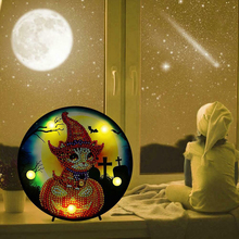 Halloween DIY Diamond Painting Full Drill Special Shaped Picture with LED Home Decoration Night Light