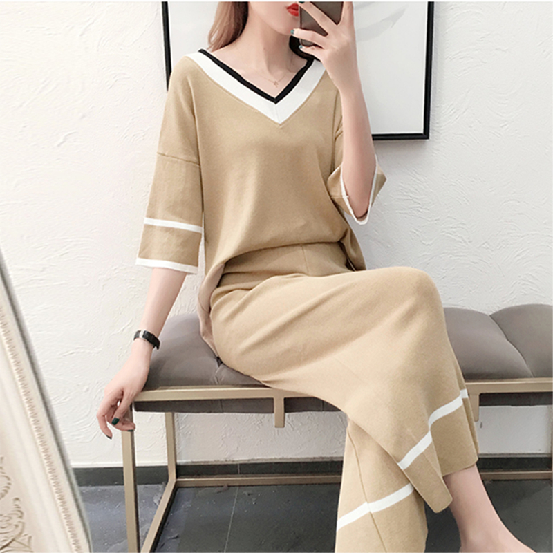 Women Knitted V Neck Pullover Top + Mid-Calf Length Pants Clothing Set 2019 Summer Woman Knitting Wide Leg Pant 2 Pieces Sets