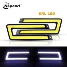 купить Nlpearl 2x Car Light Assembly DRL Led COB Car Daytime Running Lights Waterproof 12V For Auto External Running Light Car Styling онлайн