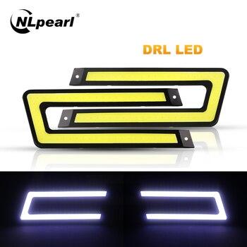 Nlpearl 2x Car Light Assembly DRL Led COB Car Daytime Running Lights Waterproof 12V For Auto External Running Light Car Styling цена 2017