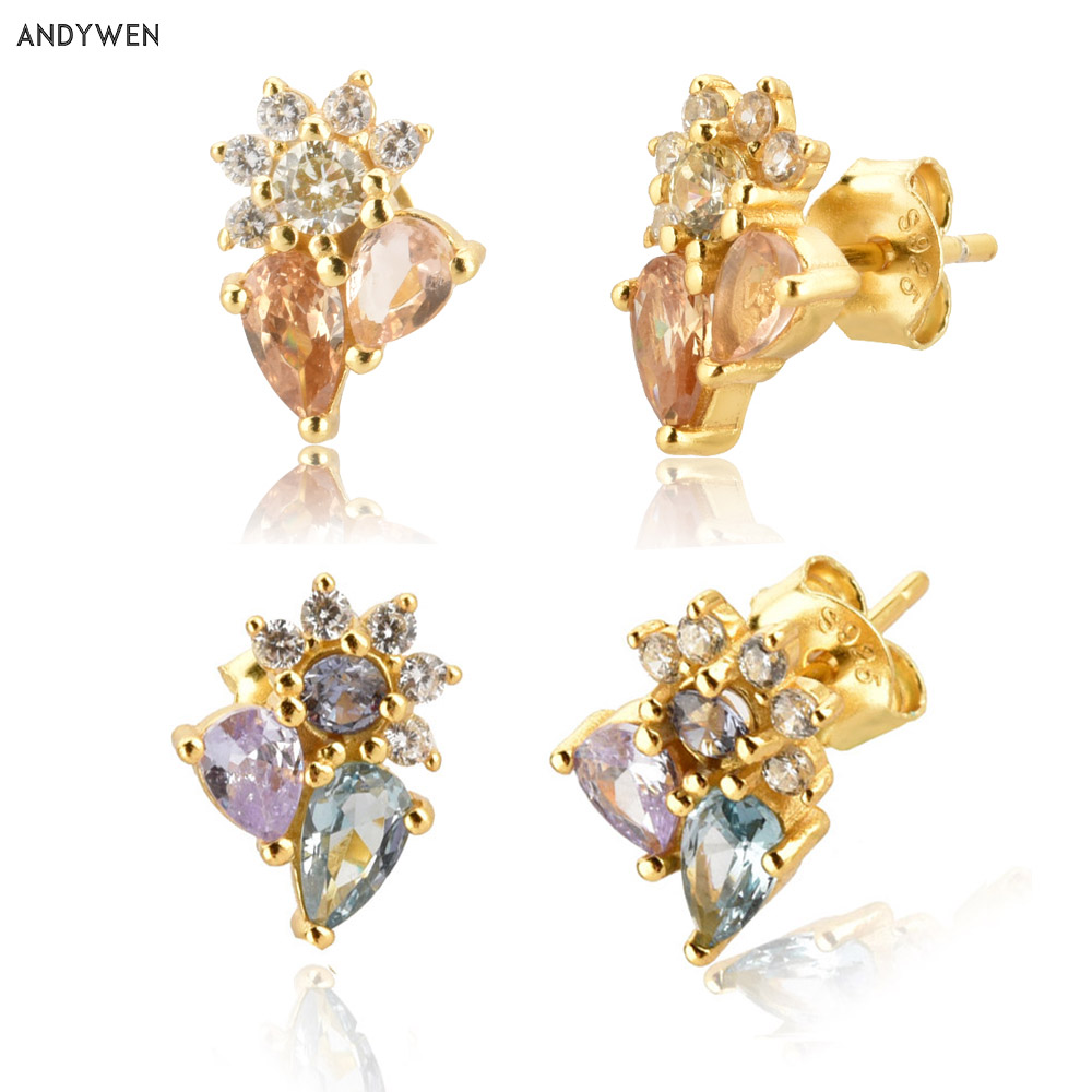 ANDYWEN 925 Sterling Silver SunFlower Oval Stud Earrring Colorful Purple Champagne Luxury Piercing Ohrringe Pendiente Jewelry