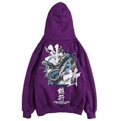 Харадзюку фиолетовые толстовки пара китайских персонажей Толстовка уличная Мужская Осенняя с принтом змеи хип-хоп толстовка женская