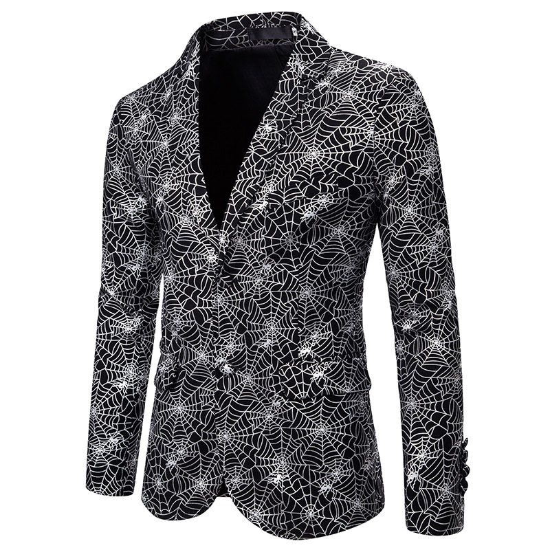 Fashion Single Breasted Blazer Men DJ Club Bar Party Suit Jacket Men Shiny Silver Foil Print Wedding Tuxedo Blazer Stage Costume