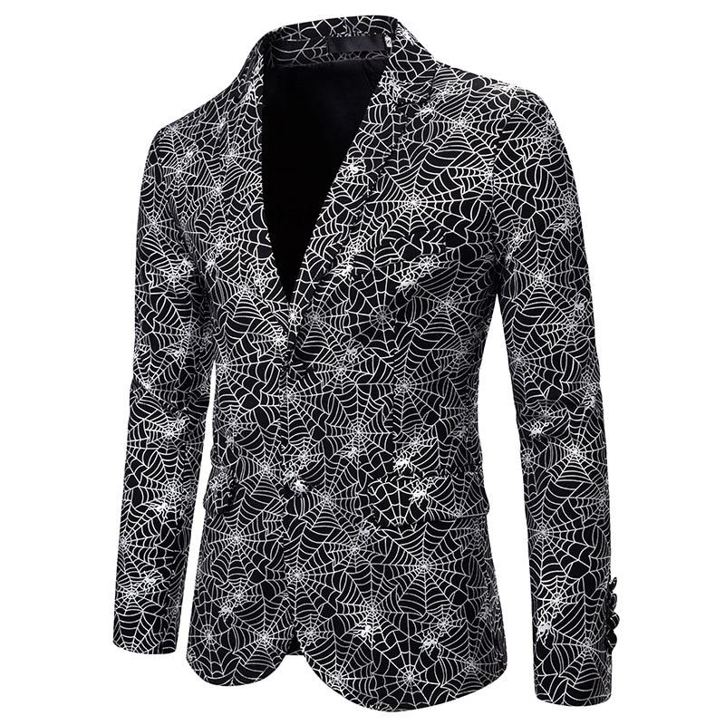 Fashion Single Breasted Blazer Men DJ Club Bar Party Suit Jacket Men Shiny Silver Foil Print Wedding Tuxedo Blazer Stage Costume