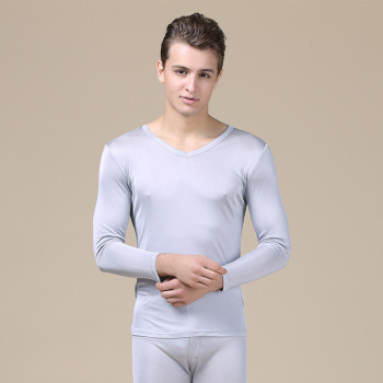 Hot new men's solid color V-neck silk double knitted thermal underwear set autumn pants factory direct sales