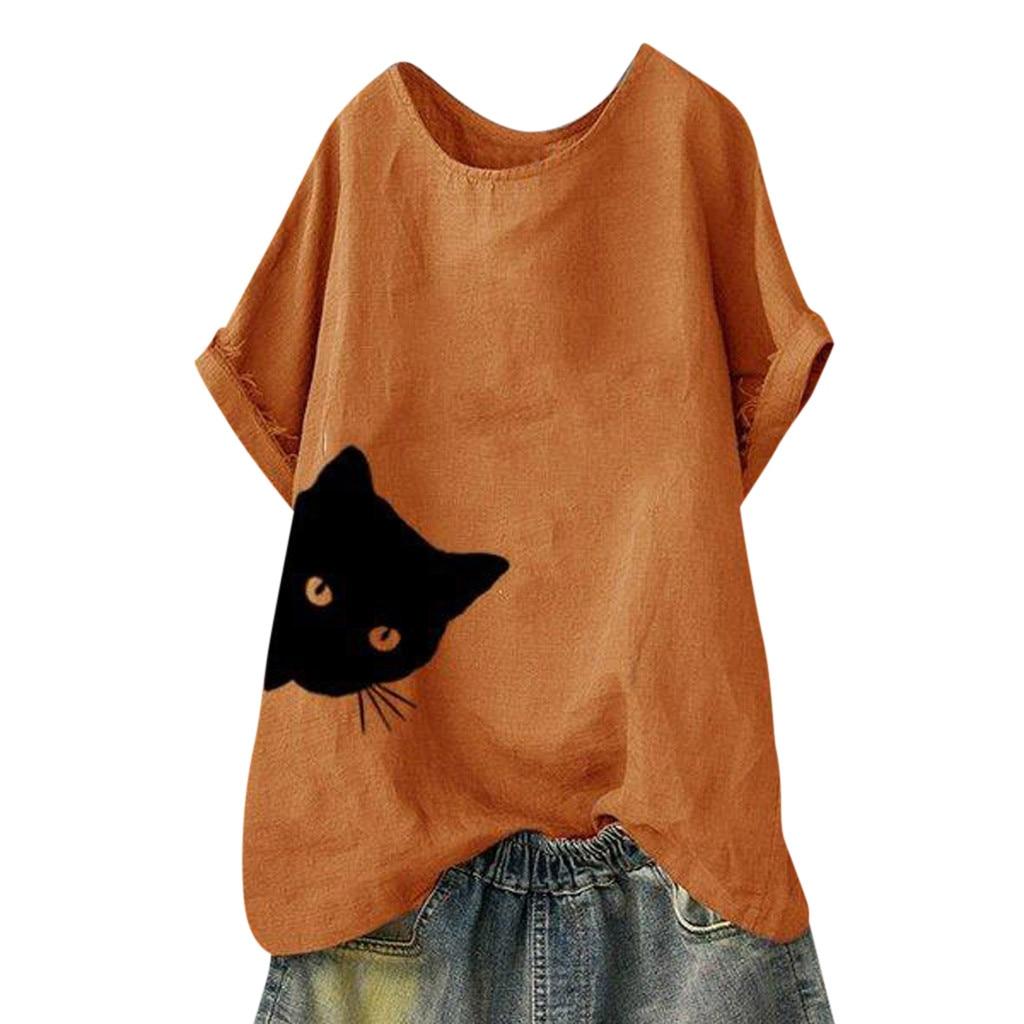 S-4XL Plus Size Women Tunic Shirt Cute Cat Print Casual Blouse O-Neck Short Sleeve Fashion Summer Blouse Blusas Mujer De Moda