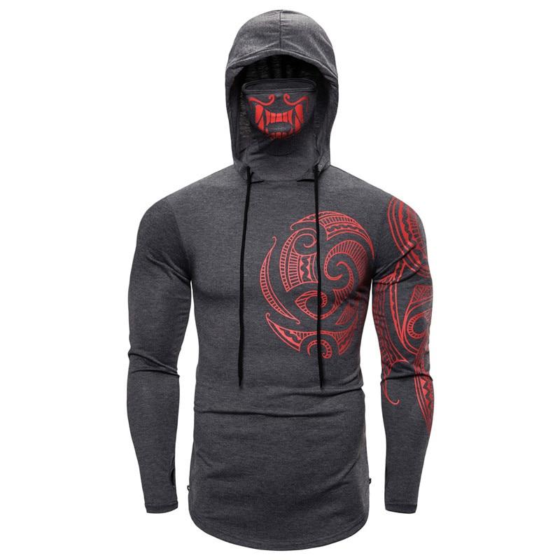 Long Sleeve Men's Hoodies with Print Mask Black Gray Elasticity Coat Moto Biker Style Cool Sweatshirts Men Thin Hoodies