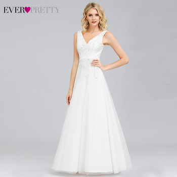 Elegant Cheap Wedding Dresses Ever Pretty EP00845 Lace Sequined A-Line V-Neck Simple Gowns For Bride Vestido Novia 2020 - discount item  35% OFF Wedding Dresses