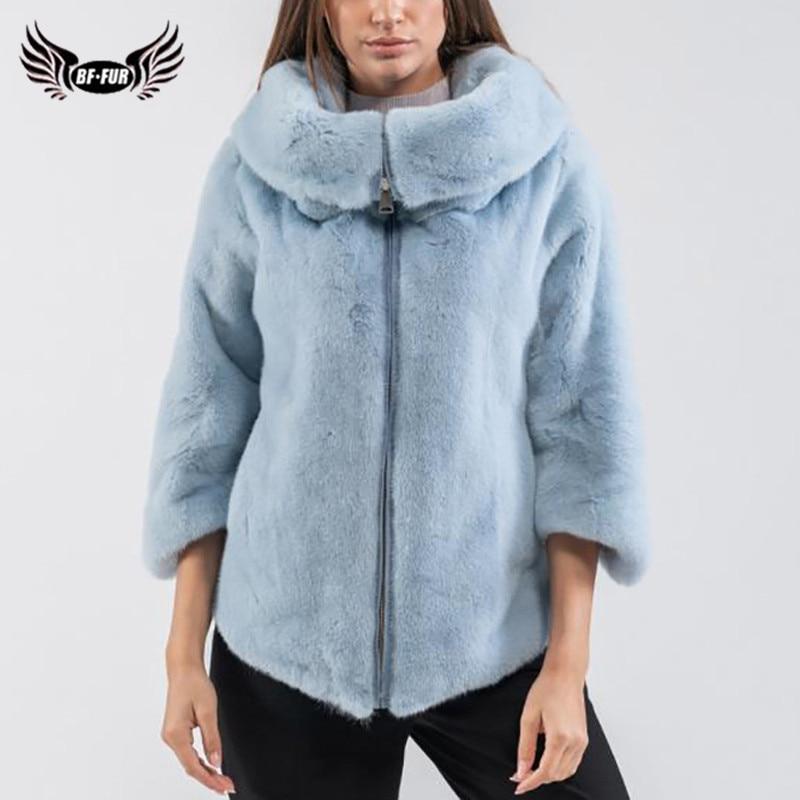 Fashion Women Real Mink Fur Jacket With Big Lapel Collar High Quality Genuine Mink Fur Jacket Woman Winter Overcoats Fur Natural