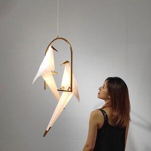 Image 1 - Nordic Vogel LED Anhänger Lichter Beleuchtung Origami Kran Vogel Anhänger Lampe Schlafzimmer Wohnzimmer Esszimmer Innen Dekor Küche Leuchten