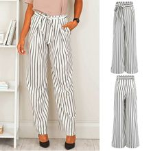 women pants suits set for work zebra stripes Fashion Women's Leisure Loose Solid Trousers Leisure Long Sweatpants#3(China)