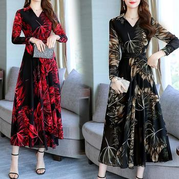 Women Floral Print V-Neck Large Swing Tight Waist Long Sleeve A-line Maxi Dress Women Tight Waist Long Sleeve A-line Maxi Dress bell sleeve contrast lace tie waist maxi dress