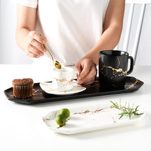 Casa placa de cerâmica retangular placa ocidental placa de armazenamento sushi placa padrão ouro placa preto e branco