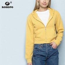 ROHOPO Hooded Jersey Front Hem Welt pockets Yellow Cotton Hoodies Zipper Fly Zip Up Ladies Solid Sweatshirt #278