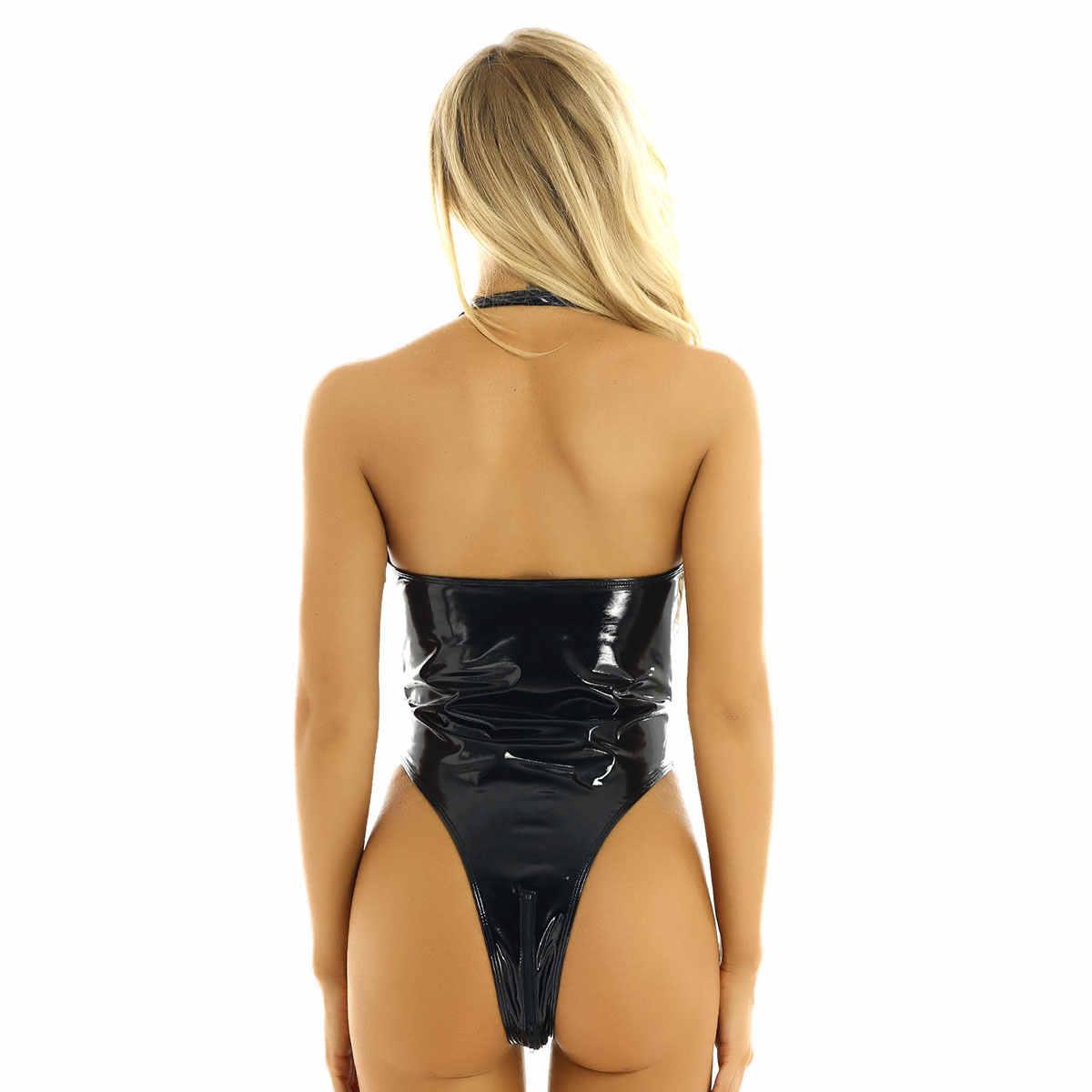 Vrouwen Dames Hot Lingerie Een Stuk Rits Crotchless Bodysuit Latex Catsuit Wet Look Lakleer Teddy Bodysuit Rave Outfits