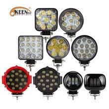 Okeen luzes de led para trabalho, 27w, 48w, 42w, 51w e 60w, para offroad led caminhão do carro 4x4 atv trator luz do trabalho