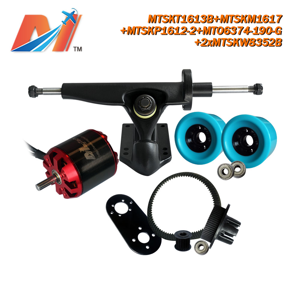 Maytech (6pcs) powered skateboard <font><b>6374</b></font> <font><b>190KV</b></font> <font><b>brushless</b></font> <font><b>motor</b></font> with no sensor and truck/wheel/pulley combo image