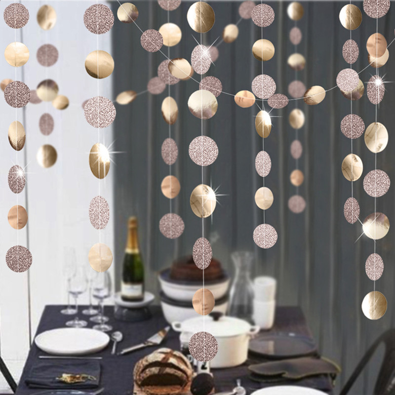 4m Mirror Paper Star Round Garland Flash Banner Happy Birthday Decoration Adult Boy Girl Baby Shower Curtain Decor  Wedding DIY