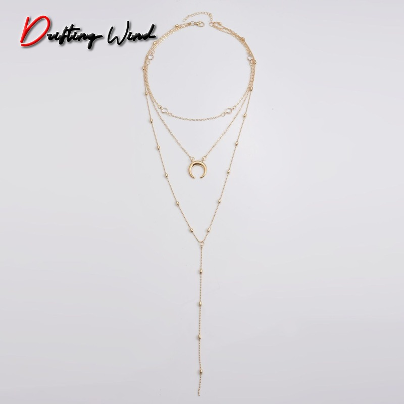 Women Necklace Moon Charms Necklaces Beads Chain Ladies Tassel Pendant Girls Jewelry Gold Color Trendy European Metal Halskette