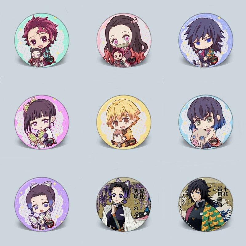 1PC Anime Demon Slayer: Kimetsu No Yaiba Cartoon Badge Kamado Tanjirou And Nezuko Brooch Pin For Backpack & Bag Accessories