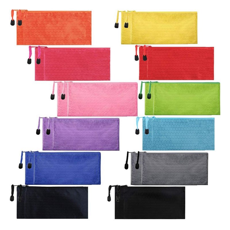24Pcs Zipper Waterproof File Bag Pencil Pouch Pen Case, For Office Supplies Travel Accessories Cosmetic, 12 Colors
