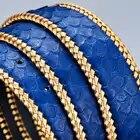 Cinturones de cuero de piel de pitón Real sin hebilla 3,8 CM de ancho de alta calidad de moda tejido trenzado de lujo para hombre cinturones de cintura azul - 2
