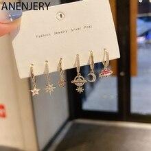 ANENJERY 6-piece Zircon Earrings Set Love Heart Moon Star Hoop Earrings for Women Gold Color Jewelry Wholesale Gifts S-E1283