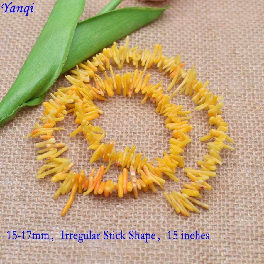 Yanqi nieregularny kształt kija czerwone pałki koralowe koraliki z kamienia naturalnego koraliki Spacer koraliki do tworzenia biżuterii DIY bransoletka naszyjnik
